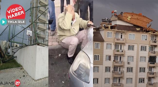 Gaziantep'te şiddetli fırtınada bir kadın 4 kattan düştü